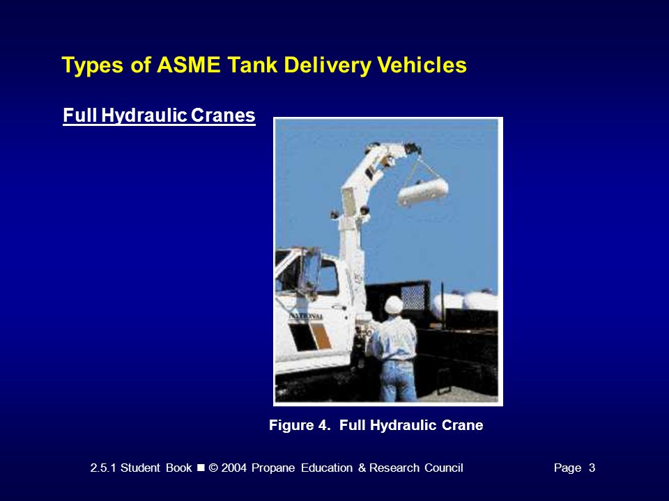 2.5.1 Student Book © 2004 Propane Education & Research CouncilPage 3 Types of ASME Tank Delivery Vehicles Full Hydraulic Cranes Figure 4.