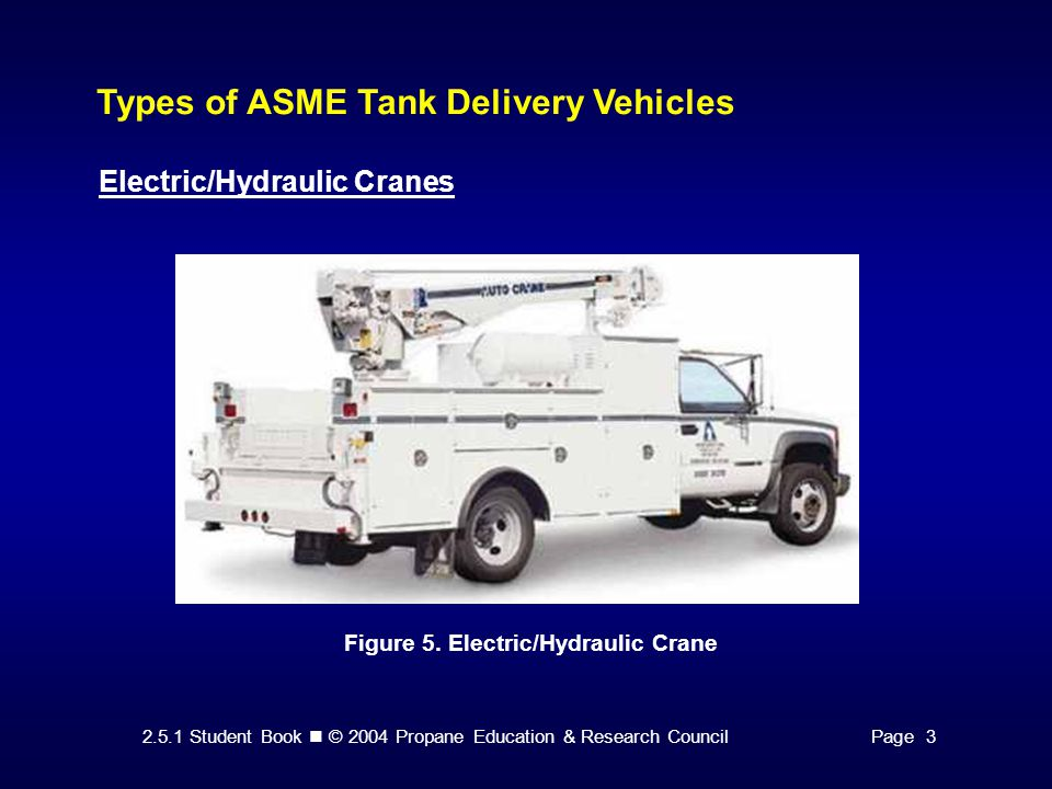 2.5.1 Student Book © 2004 Propane Education & Research CouncilPage 3 Types of ASME Tank Delivery Vehicles Electric/Hydraulic Cranes Figure 5.
