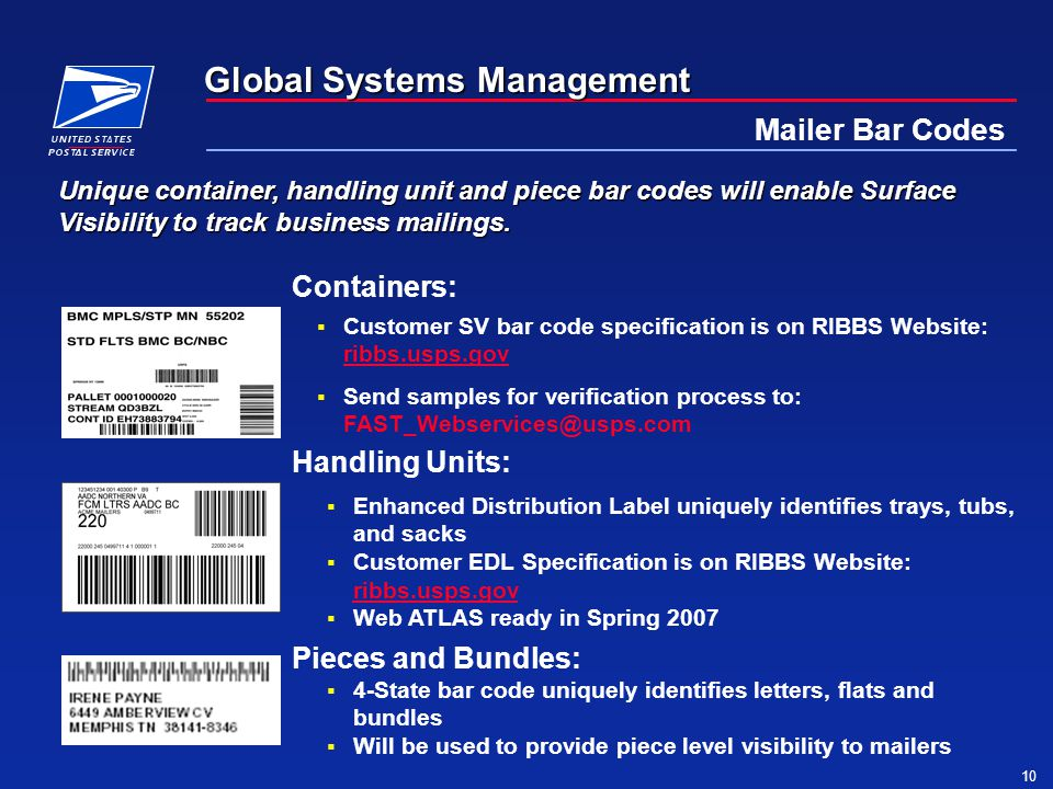 Global Systems Management 10 Mailer Bar Codes Unique container, handling unit and piece bar codes will enable Surface Visibility to track business mailings.