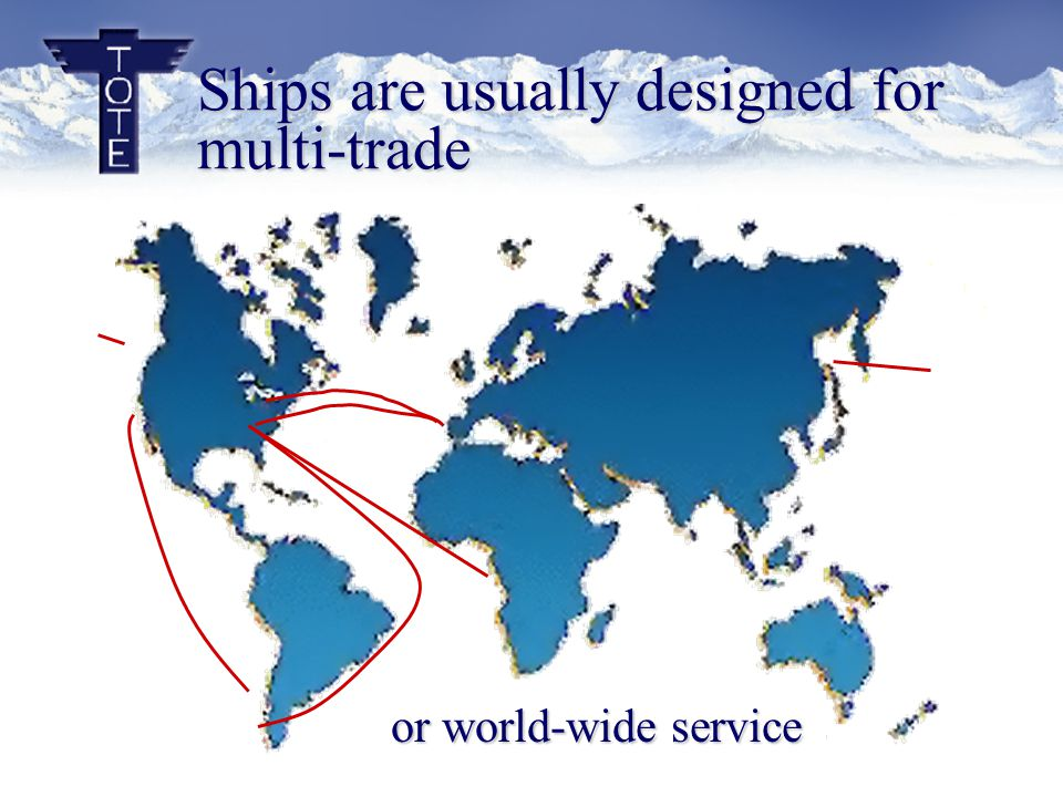 Ships are usually designed for multi-trade or world-wide service