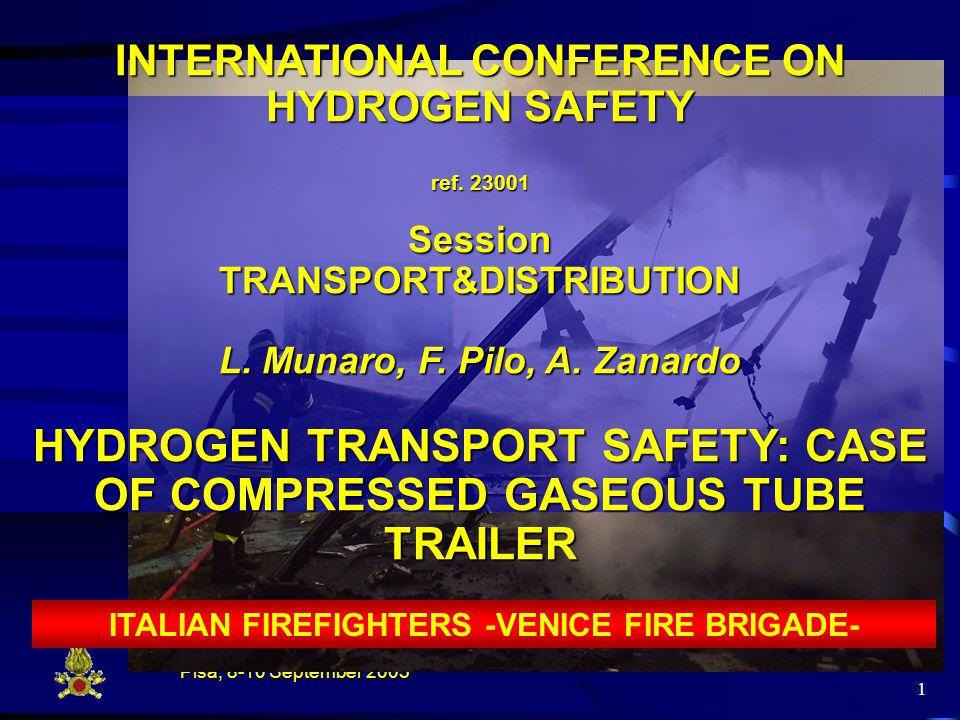 Pisa, 8-10 September 2005 1 INTERNATIONAL CONFERENCE ON HYDROGEN SAFETY ref.