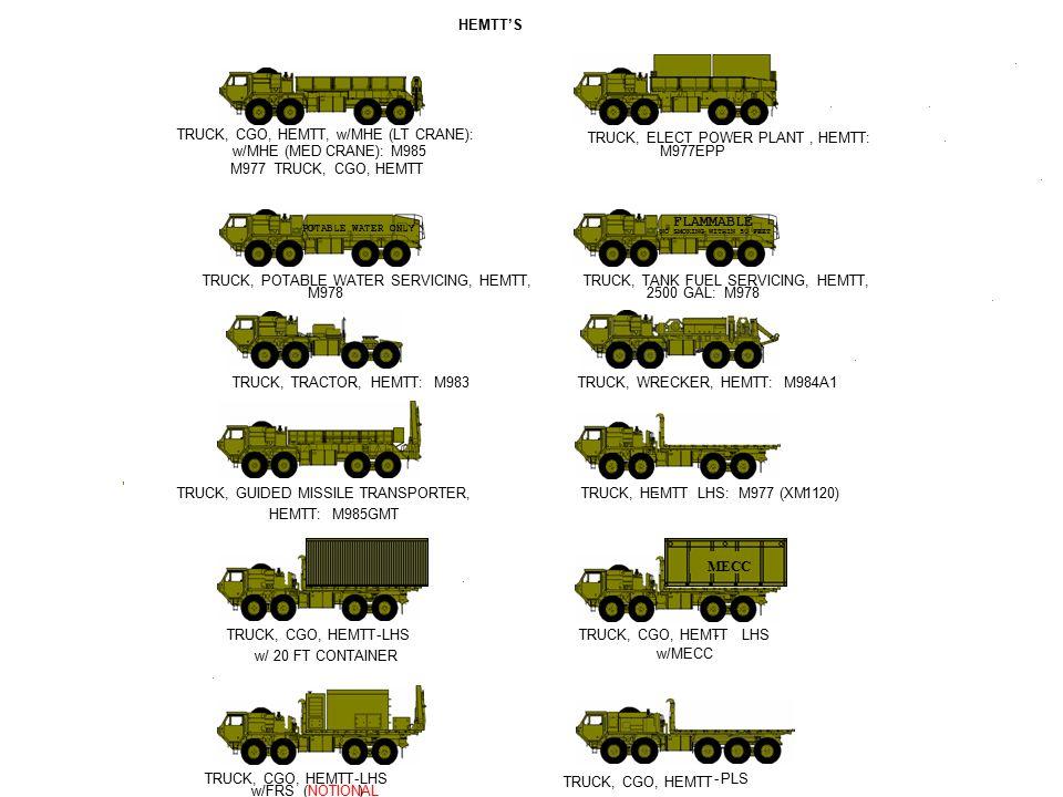 - - - - - - - - - -- - - - - - TRUCK, HEMTT- LHS: M977 (XM 1120) TRUCK, CGO, HEMTTLHS w/ 20 FT CONTAINER TRUCK, CGO, HEMTT-LHS w/MECC TRUCK, CGO, HEMT