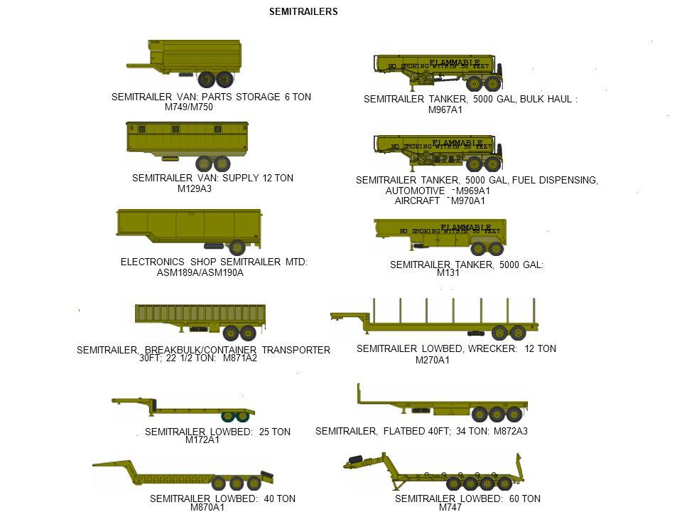 - - - - - - - - - - SEMITRAILER, FLATBED 40FT; 34 TON:M872A3 SEMITRAILER LOWBED: 40 TON M870A1 SEMITRAILER LOWBED: 60 TON M747 SEMITRAILER LOWBED: 25