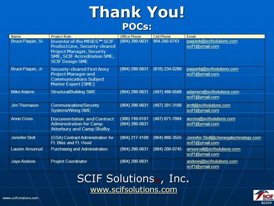  2009 www.scifsolutions.com SCIF Solutions ®, Inc.