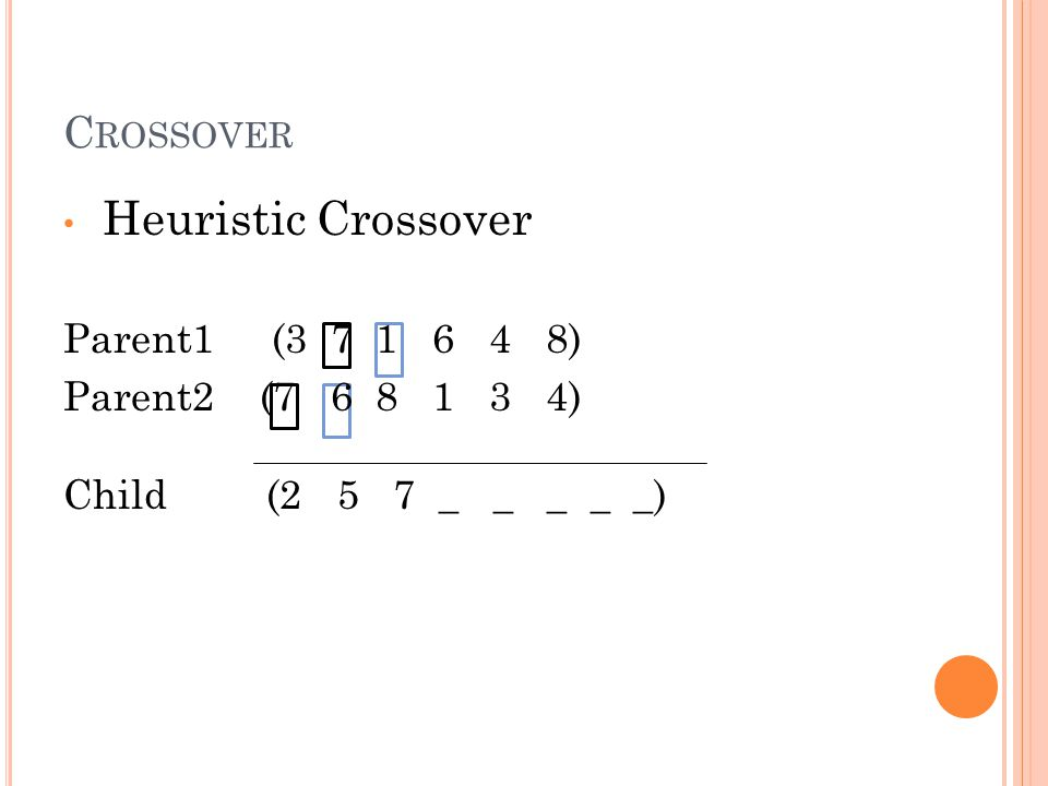 Heuristic Crossover Parent1 (3 7 1 6 4 8) Parent2 (7 6 8 1 3 4) Child (2 5 7 _ _ _ _ _)