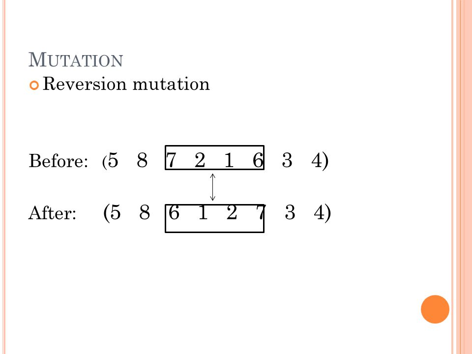 Reversion mutation Before: ( 5 8 7 2 1 6 3 4) After: (5 8 6 1 2 7 3 4) M UTATION