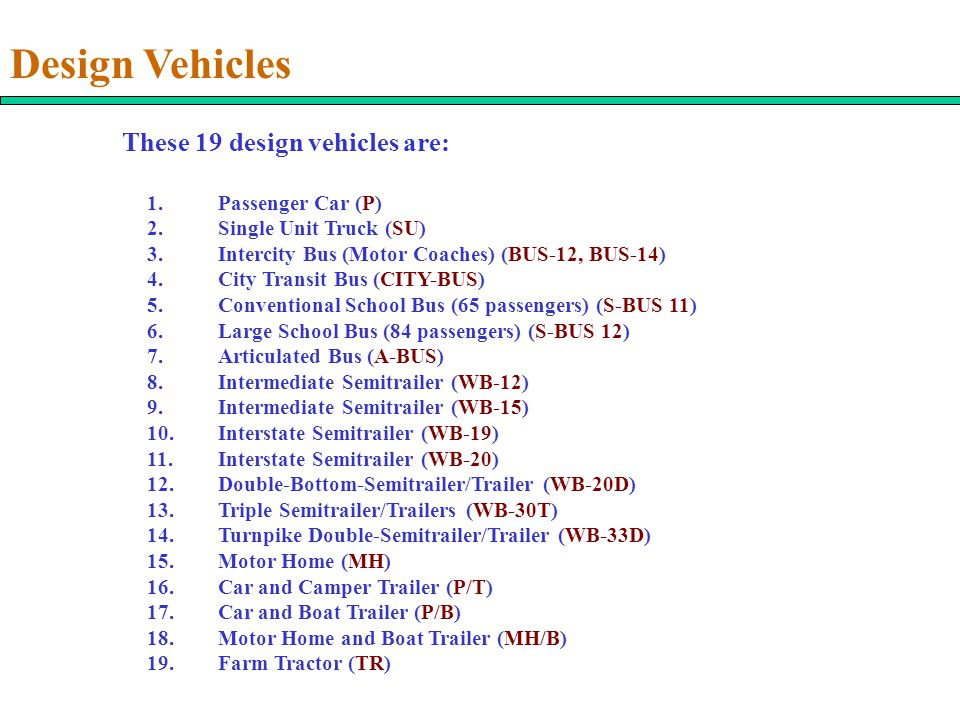 Design Vehicles These 19 design vehicles are: 1.Passenger Car (P) 2.Single Unit Truck (SU) 3.Intercity Bus (Motor Coaches) (BUS-12, BUS-14) 4.City Tra