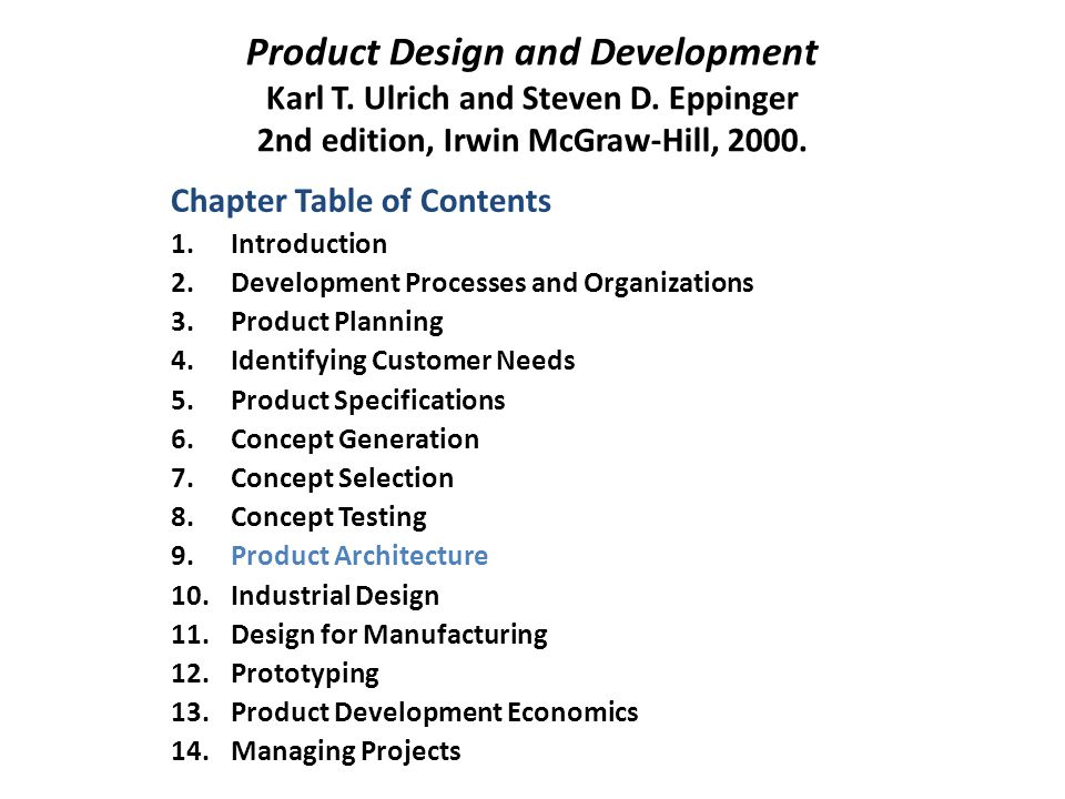 Product Design and Development Karl T.Ulrich and Steven D.