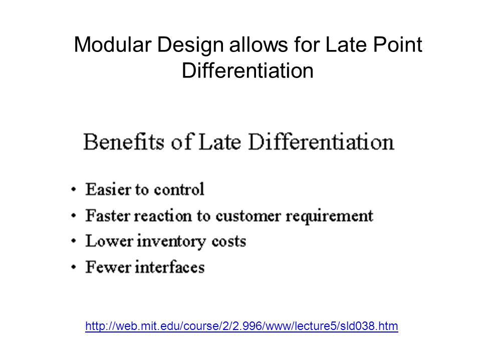 http://web.mit.edu/course/2/2.996/www/lecture5/sld038.htm Modular Design allows for Late Point Differentiation