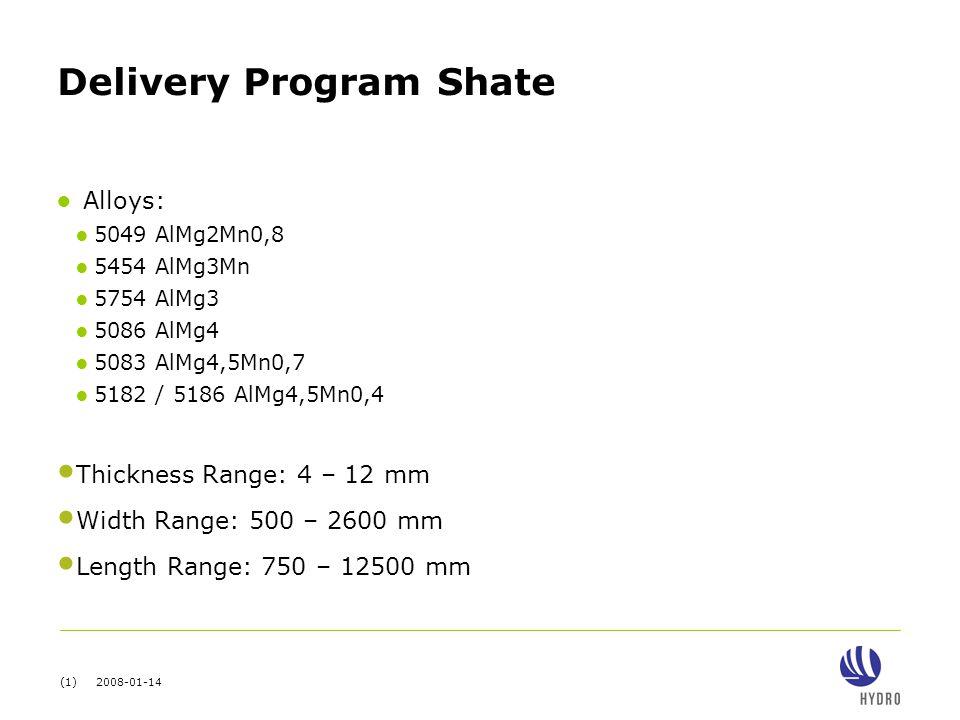 (1) 2008-01-14 Delivery Program Shate ● Alloys: ● 5049 AlMg2Mn0,8 ● 5454 AlMg3Mn ● 5754 AlMg3 ● 5086 AlMg4 ● 5083 AlMg4,5Mn0,7 ● 5182 / 5186 AlMg4,5Mn0,4 Thickness Range: 4 – 12 mm Width Range: 500 – 2600 mm Length Range: 750 – 12500 mm