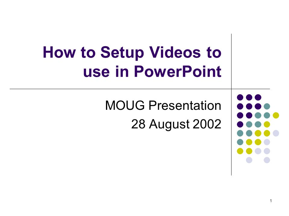 2 How to Setup PowerPoint to use Videos MOUG Presentation 28 August 2002