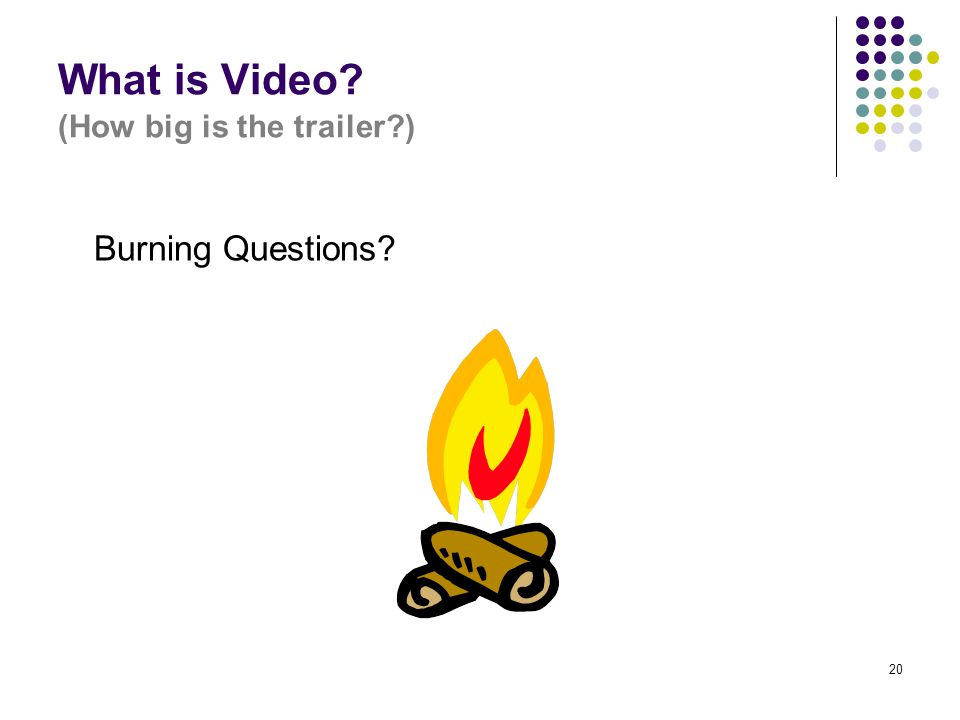20 What is Video? (How big is the trailer?) Burning Questions?