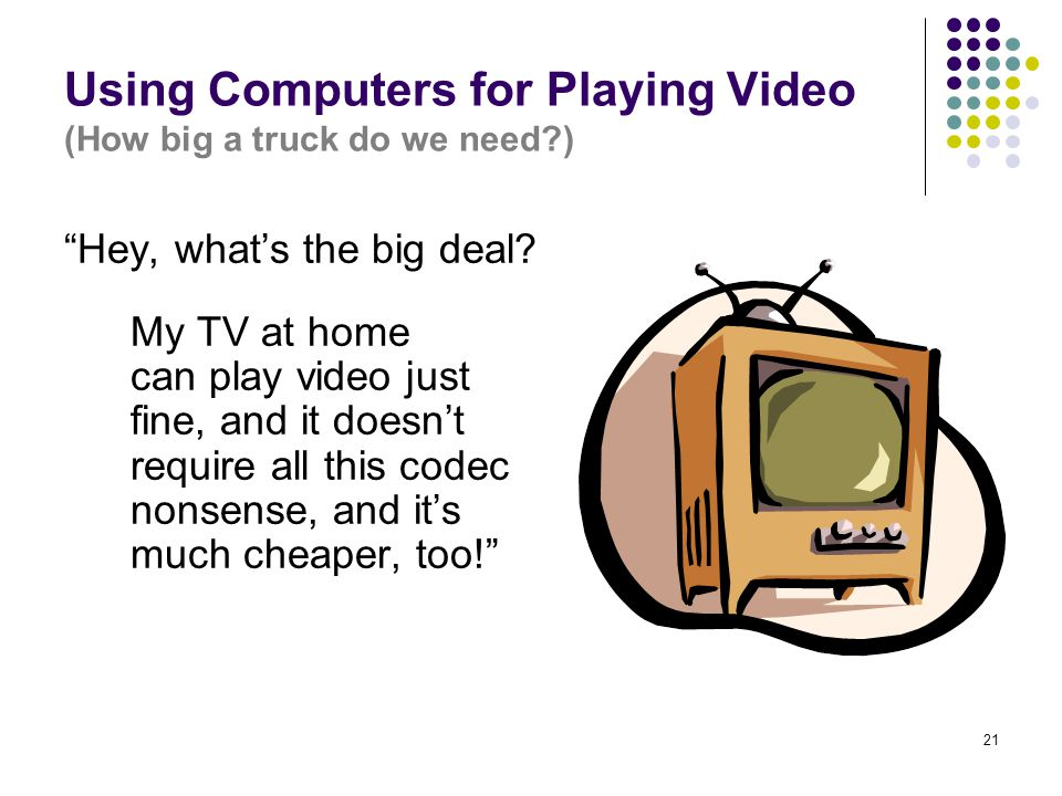 21 Using Computers for Playing Video (How big a truck do we need ) Hey, what's the big deal.