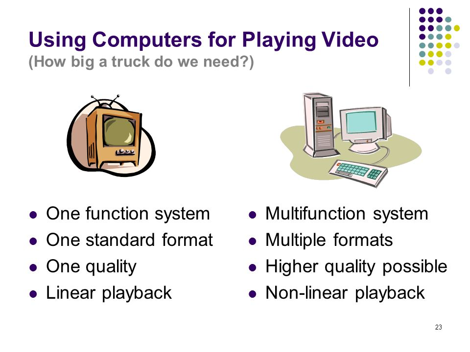 23 Using Computers for Playing Video (How big a truck do we need ) One function system One standard format One quality Linear playback Multifunction system Multiple formats Higher quality possible Non-linear playback