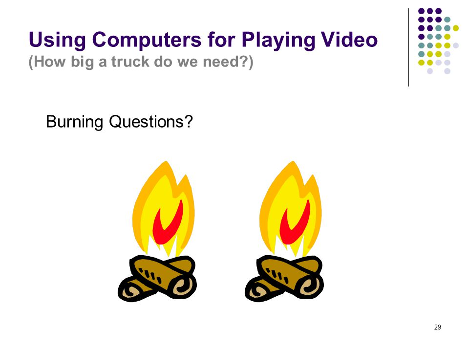 29 Using Computers for Playing Video (How big a truck do we need?) Burning Questions?