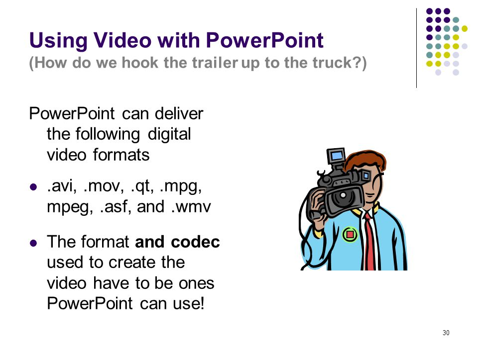 30 Using Video with PowerPoint (How do we hook the trailer up to the truck ) PowerPoint can deliver the following digital video formats.avi,.mov,.qt,.mpg, mpeg,.asf, and.wmv The format and codec used to create the video have to be ones PowerPoint can use!