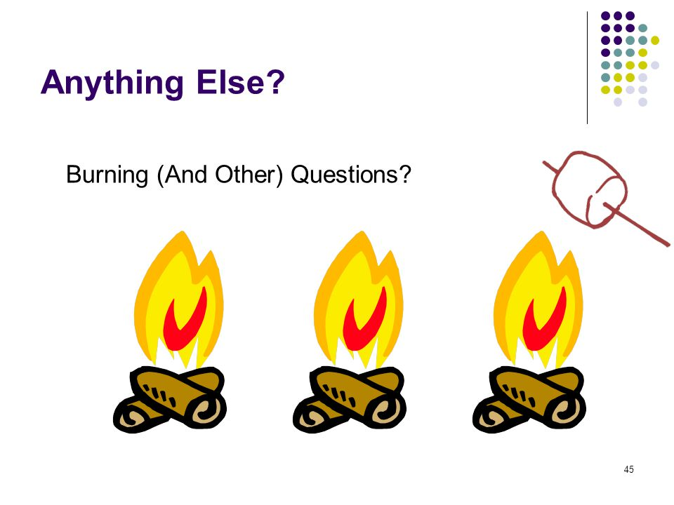 45 Anything Else Burning (And Other) Questions