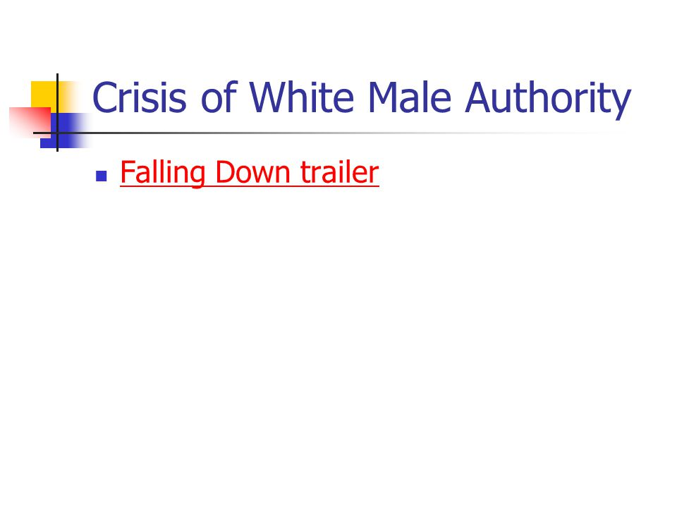 Crisis of White Male Authority Falling Down trailer Falling Down trailer