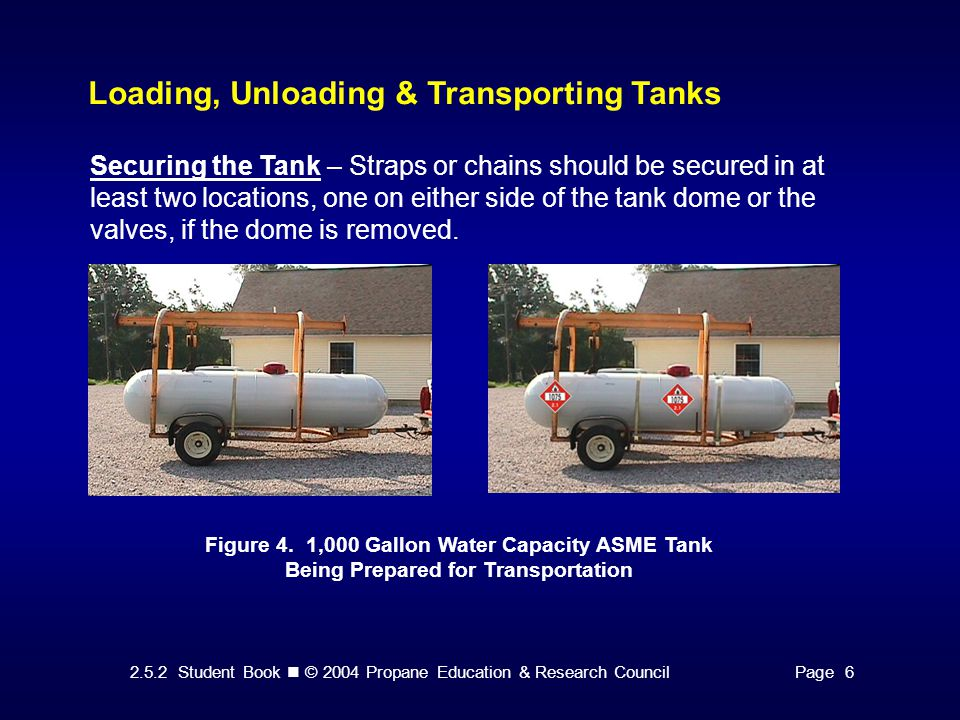 2.5.2 Student Book © 2004 Propane Education & Research CouncilPage 6 Loading, Unloading & Transporting Tanks Securing the Tank – Straps or chains should be secured in at least two locations, one on either side of the tank dome or the valves, if the dome is removed.