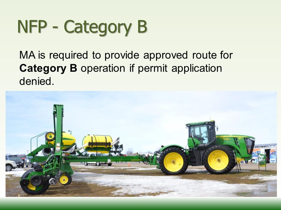 NFP - Category B MA is required to provide approved route for Category B operation if permit application denied.