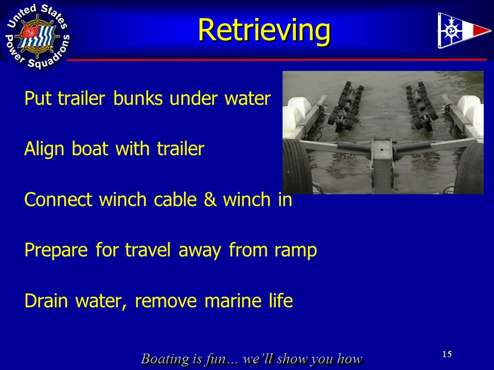 Boating is fun… we'll show you how Retrieving Put trailer bunks under water Align boat with trailer Connect winch cable & winch in Prepare for travel