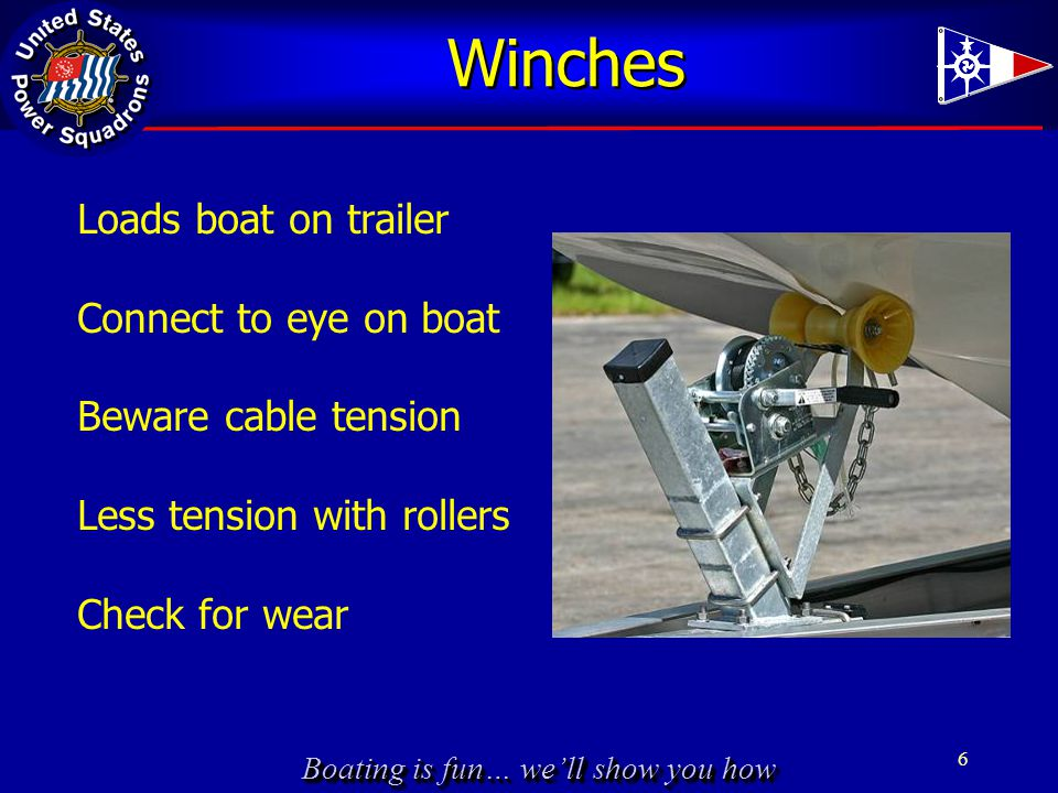 Boating is fun… we'll show you how Winches Loads boat on trailer Connect to eye on boat Beware cable tension Less tension with rollers Check for wear