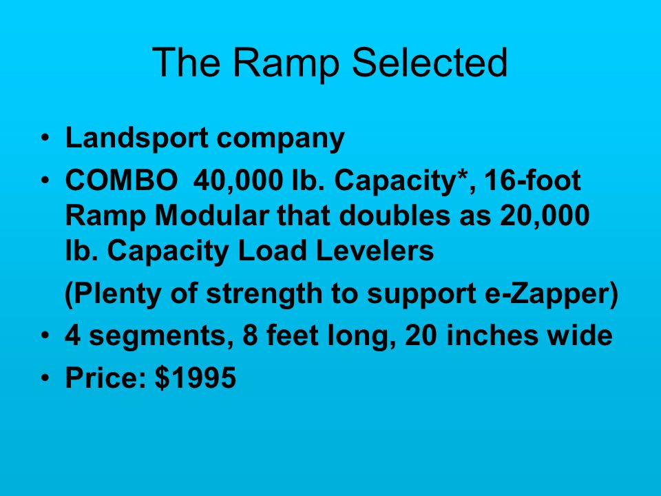 The Ramp Selected Landsport company COMBO 40,000 lb.
