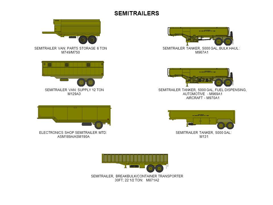 SEMITRAILERS SEMITRAILER VAN: PARTS STORAGE 6 TON M749/M750 SEMITRAILER VAN: SUPPLY 12 TON M129A3 ELECTRONICS SHOP SEMITRAILER MTD: ASM189A/ASM190A FL