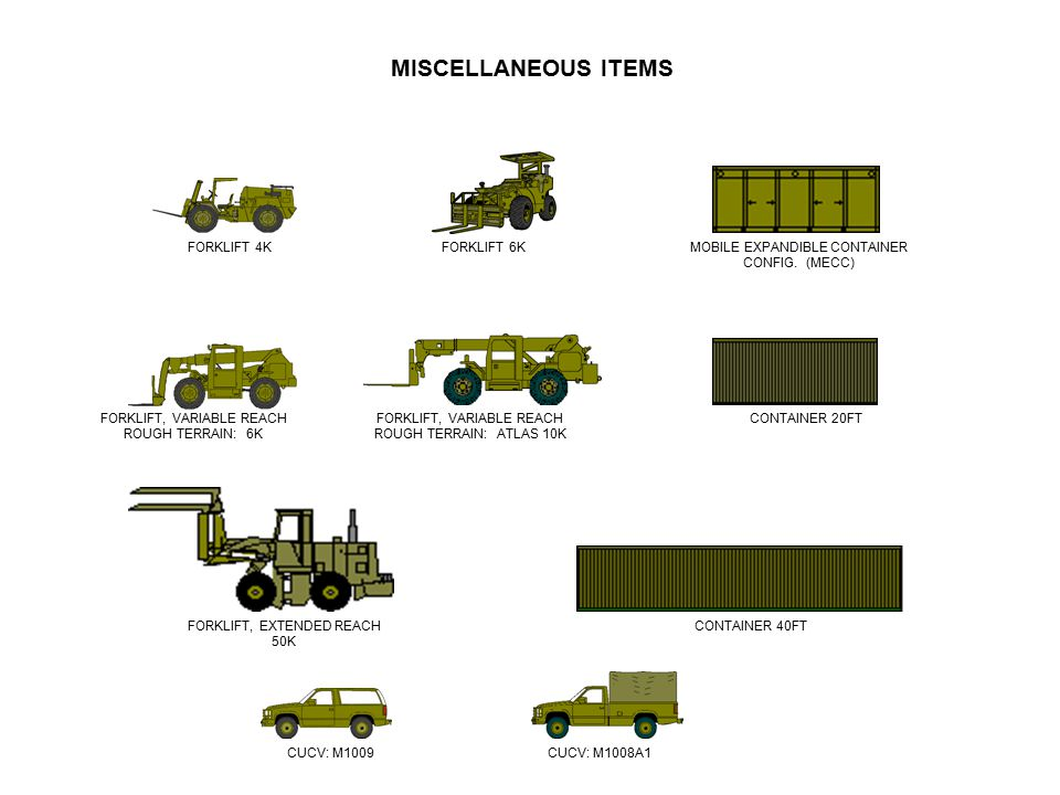 CONTAINER 20FT CONTAINER 40FT MISCELLANEOUS ITEMS MOBILE EXPANDIBLE CONTAINER CONFIG. (MECC) FORKLIFT 4KFORKLIFT 6K FORKLIFT, EXTENDED REACH 50K CUCV: