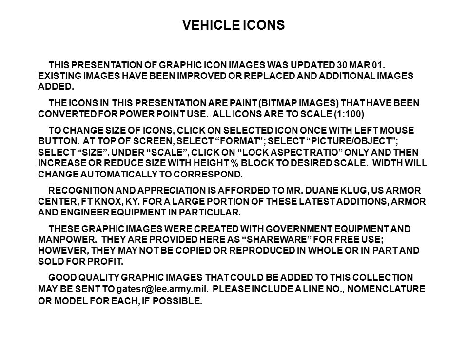 VEHICLE ICONS THIS PRESENTATION OF GRAPHIC ICON IMAGES WAS UPDATED 30 MAR 01. EXISTING IMAGES HAVE BEEN IMPROVED OR REPLACED AND ADDITIONAL IMAGES ADD