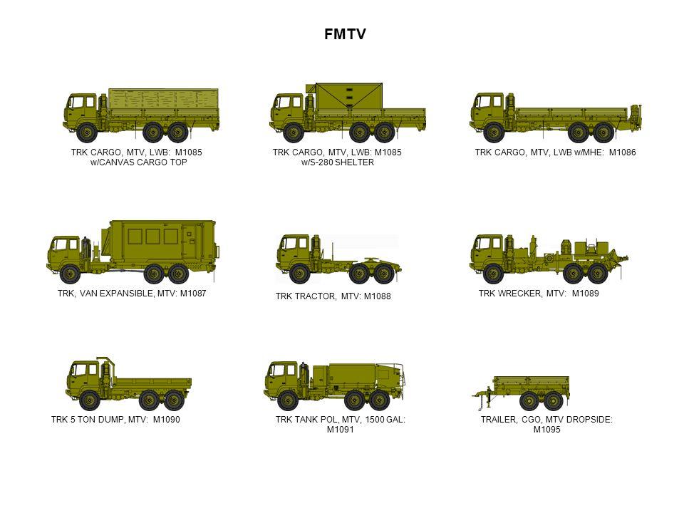 FMTV TRK TRACTOR, MTV: M1088 TRK TANK POL, MTV, 1500 GAL: M1091 TRK, VAN EXPANSIBLE, MTV: M1087TRK WRECKER, MTV: M1089 TRK CARGO, MTV, LWB w/MHE: M108