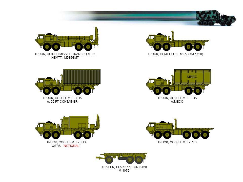 TRUCK, HEMTT-LHS: M977 (XM-1120) TRUCK, CGO, HEMTT- LHS w/ 20 FT CONTAINER HEMTT'S TRUCK, CGO, HEMTT- LHS w/MECC TRUCK, CGO, HEMTT- LHS w/FRS (NOTIONA