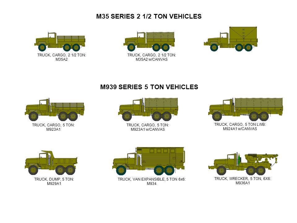M35 SERIES 2 1/2 TON VEHICLES TRUCK, CARGO, 2 1/2 TON: M35A2 w/CANVAS TRUCK, CARGO, 2 1/2 TON: M35A2 M939 SERIES 5 TON VEHICLES TRUCK, CARGO, 5 TON: M