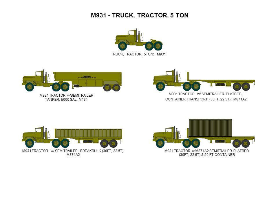 M931 TRACTOR w/SEMITRAILER TANKER, 5000 GAL, M131 M931 TRACTOR w/ SEMITRAILER, BREAKBULK (30FT, 22.5T): M871A2 M931 TRACTOR w/M871A2 SEMITRAILER FLATB
