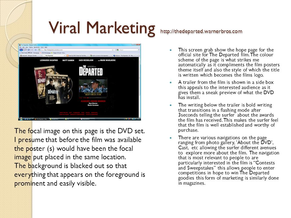 Viral Marketing http://thedeparted.warnerbros.com This screen grab show the hope page for the official site for The Departed film.