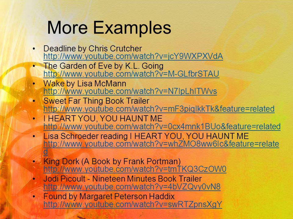 More Examples Love, Stargirl Book Trailer http://www.youtube.com/watch?v=tMoXMhql0L0 http://www.youtube.com/watch?v=tMoXMhql0L0 The Book Thief http://www.youtube.com/watch?v=b2FGzXj- d2khttp://www.youtube.com/watch?v=b2FGzXj- d2k Tantalize http://cynthialeitichsmith.blogspot.com/2008/04/interview- shayne-leighton-on-tantalize.html http://cynthialeitichsmith.blogspot.com/2008/04/interview- shayne-leighton-on-tantalize.html What Happened to Cass McBride.