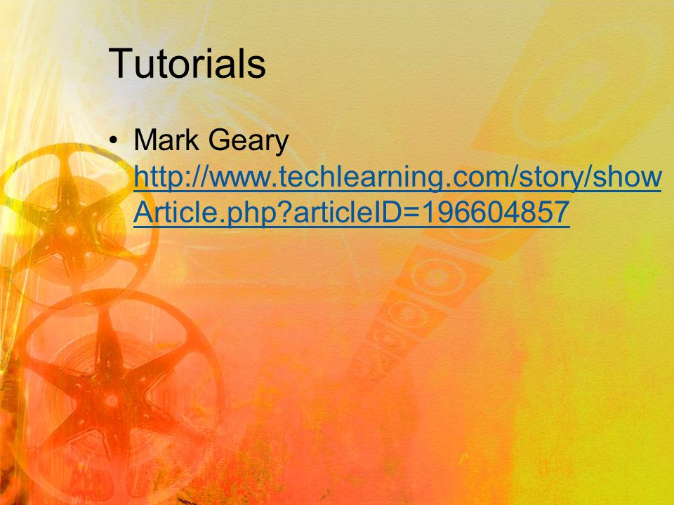 Tutorials Mark Geary http://www.techlearning.com/story/show Article.php articleID=196604857 http://www.techlearning.com/story/show Article.php articleID=196604857