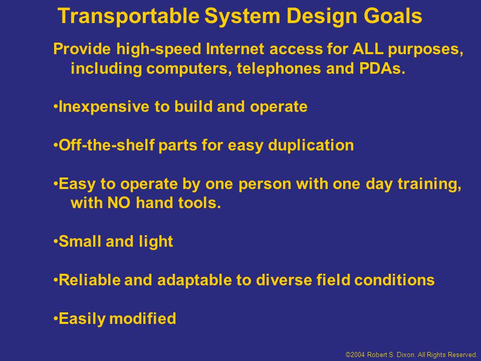 ©2004 Robert S.Dixon. All Rights Reserved. Planned Applications Emergency communications.