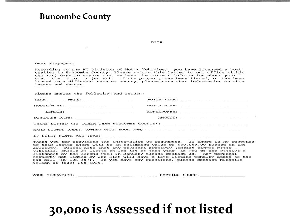 30,000 is Assessed if not listed Buncombe County