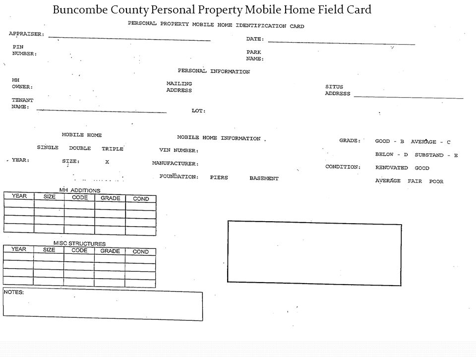 Buncombe County Personal Property Mobile Home Field Card