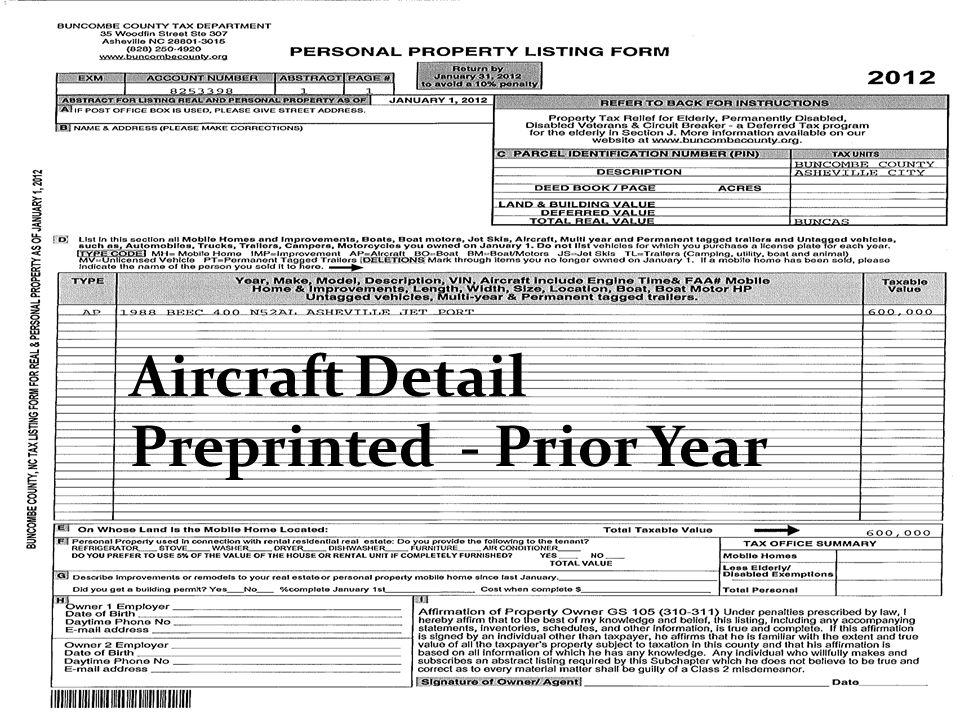 Aircraft Detail Preprinted - Prior Year