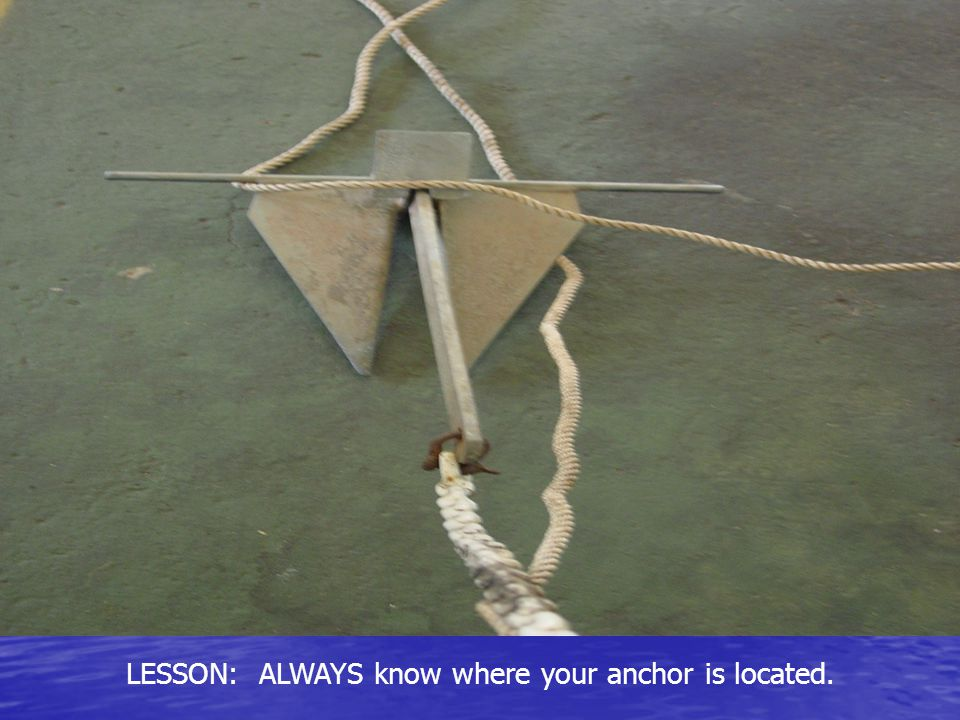 LESSON: ALWAYS know where your anchor is located.
