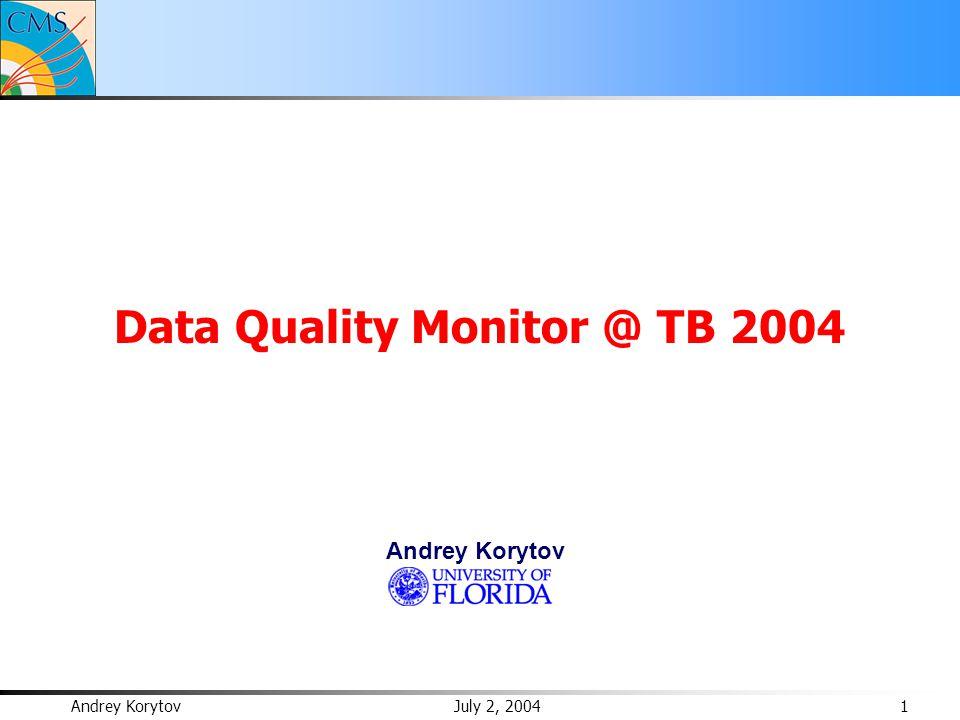 Andrey Korytov July 2, 2004 1 Data Quality Monitor @ TB 2004 Andrey Korytov