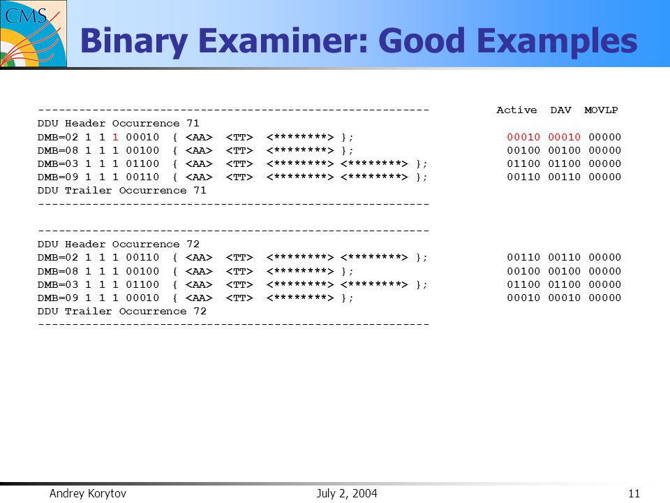 Andrey Korytov July 2, 2004 11 Binary Examiner: Good Examples ---------------------------------------------------------- Active DAV MOVLP DDU Header Occurrence 71 DMB=02 1 1 1 00010 { }; 00010 00010 00000 DMB=08 1 1 1 00100 { }; 00100 00100 00000 DMB=03 1 1 1 01100 { }; 01100 01100 00000 DMB=09 1 1 1 00110 { }; 00110 00110 00000 DDU Trailer Occurrence 71 ---------------------------------------------------------- DDU Header Occurrence 72 DMB=02 1 1 1 00110 { }; 00110 00110 00000 DMB=08 1 1 1 00100 { }; 00100 00100 00000 DMB=03 1 1 1 01100 { }; 01100 01100 00000 DMB=09 1 1 1 00010 { }; 00010 00010 00000 DDU Trailer Occurrence 72 ----------------------------------------------------------