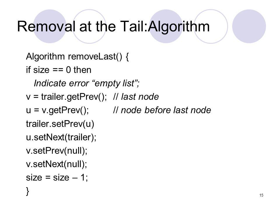 """Removal at the Tail:Algorithm Algorithm removeLast() { if size == 0 then Indicate error """"empty list""""; v = trailer.getPrev(); // last node u = v.getPre"""