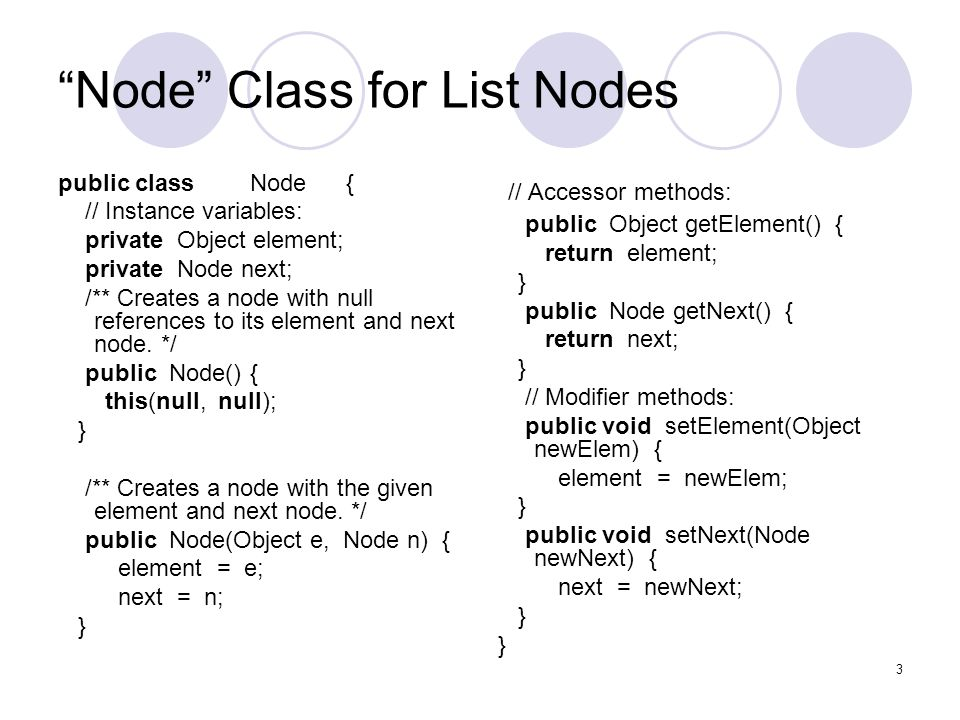 SLinkedList class /** Singly linked list.*/ public class SLinkedList { protected Node head;// head node of the list protected long size;// number of nodes in the list /** Default constructor that creates an empty list */ public SLinkedList() { head = null; size = 0; } //...