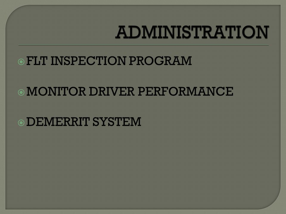  FLT INSPECTION PROGRAM  MONITOR DRIVER PERFORMANCE  DEMERRIT SYSTEM