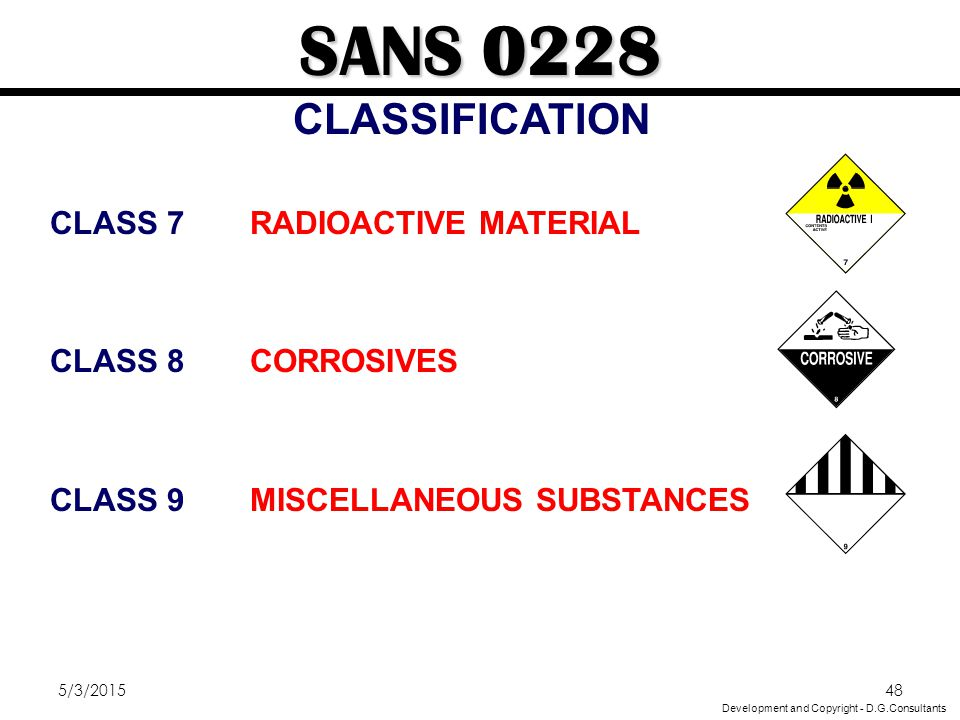 5/3/201548 CLASS 7RADIOACTIVE MATERIAL CLASS 8CORROSIVES CLASS 9MISCELLANEOUS SUBSTANCES SANS 0228 CLASSIFICATION Development and Copyright - D.G.Cons
