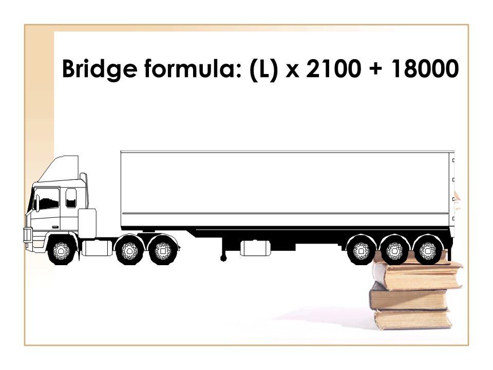 Calculation Sum of axles and units: 6 500kg + 18 000kg + 24 000kg = 48 500kg GCM:72 000kg P/D 310 x 240 = 74 400kg 5 x 18 000kg = 90 000kg 17.60 x 2100 + 18 000kg = 54 960 Proviso not applicable