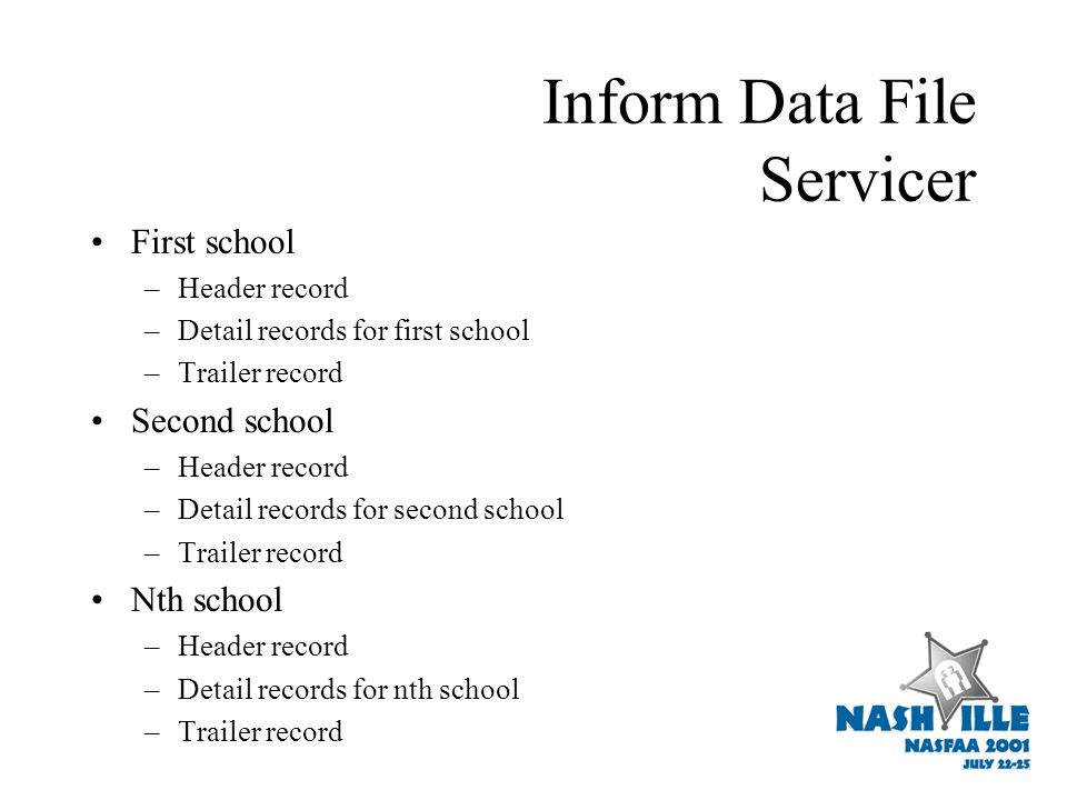 Inform Data File Servicer First school –Header record –Detail records for first school –Trailer record Second school –Header record –Detail records for second school –Trailer record Nth school –Header record –Detail records for nth school –Trailer record